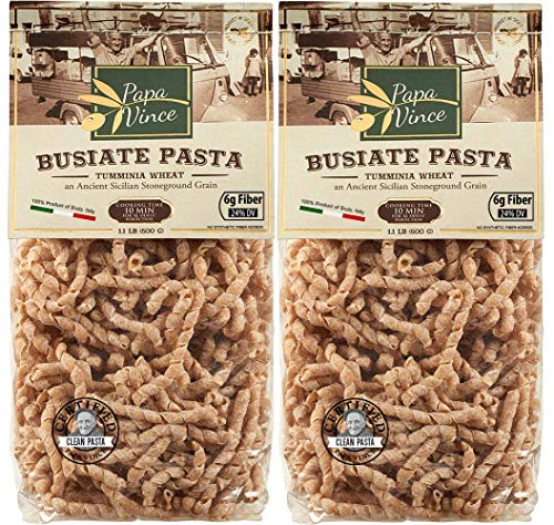 Papa Vince whole wheat pasta - Non enriched, high in fiber, high in protein, ancient grain Timilia/Tumminia grown in Sicily Italy. Al dente texture busiate, nutty flavor, doesn't taste like cardboard