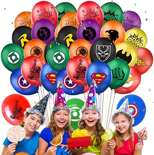 Qemsele Globos para Fiestas de Niños, 50Pcs Globos Fiesta Cumpleaños Decoración Dibujos Animados 12inch Globos de Latex con Confeti Dentro y Cintas, para Favores Regalo Carnaval Boda(Superhero)