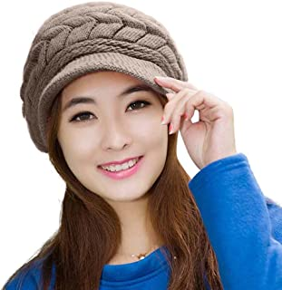 HINDAWI Winter Scarf Hat Visor Caps Infinity Scarves Knit Warm Snow Hats Women