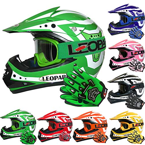 Leopard LEO-X17 *ECE 2205 Genehmigt* Kinder Motocross MX Helm Motorradhelm Crosshelm Kinderquad Off Road Enduro Sport + Handschuhe + Brille - Grün S (49-50cm)