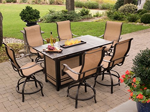 Hanover MONDN7PCFP-BR-P Monaco 7-Piece High-Dining Set with 6 Swivel Rockers and a 30,000 BTU Fire Pit Table Outdoor Furniture, Tan