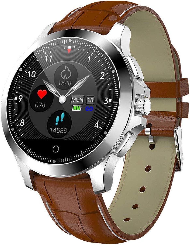 QUANOVO Smart Watch Fitness Tracker FüR Android Intelligente Uhr Elektrokardiogramm Schlaf Pulsmesser Wasserdichte Blautooth Intelligente Erinnerung Wearable,leatherbraun