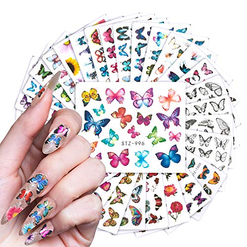 30 Sheets Butterfly Nail Art Stickers Decals, Gradient Colorful Butterfly Flowers Design Water Transfers Slider Tattoo Foil Nail Accessories (Black)