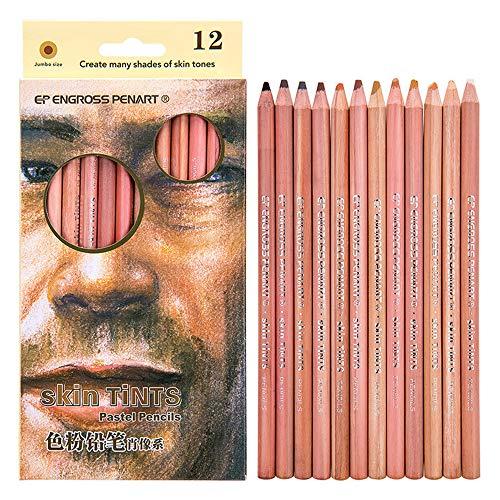 12 Professional Soft Pastel Pencils Wood skin tint pastel pencil Skintone (12 PCS Skin Tints pencil)