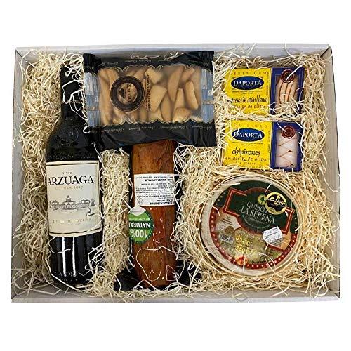 Deliex delicias de Extremadura Lote Gran Gourmet Vino Arzuaga, Oro Noble, Lomo Bellota y conservas
