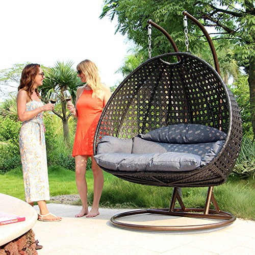 Island Gale Luxury 2 Person Outdoor, Patio, Hanging Wicker Swing Chair (2 Person) X-Large, Charcoal Rattan/Charcoal Cushion