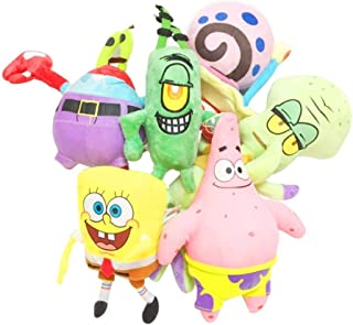 LKRFX 6pcs/Set Spongebob Plush Toys Kids Cartoon Movie Characters Christmas Birthday Gift Toys Stuffed Plush Animals