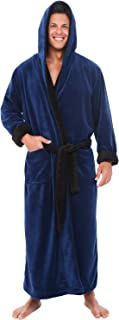 Men's Warm Fleece Robe with Hood, Big and Tall Contrast...