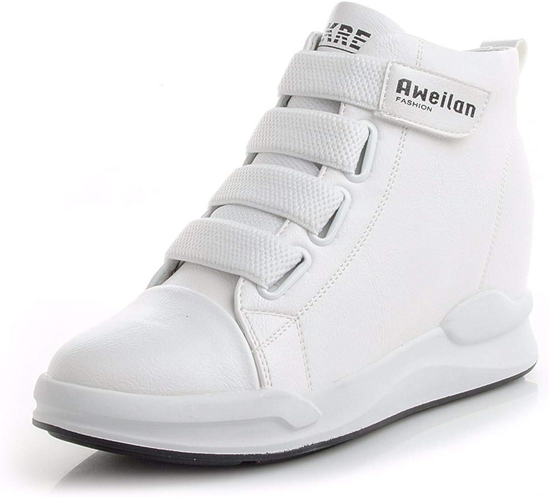 HBDLH-Damenschuhe Herbst Dicke Weiße Schuhe Hohe Schuhe Magic-Aufkleber Hohe Staatliche Sportschuhe Leder Innen Erhöht Damenschuhe  | Verpackungsvielfalt  | Die erste Reihe von umfassenden Spezifikationen für Kunden