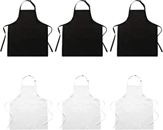 Hi loyaya 6 Pack Adjustable Kitchen Chef Apron with 2 Pockets for Women Men Adult, Bib Aprons Bulk for Painting Event Party BBQ Cooking Baking Restaurant (6, Black+White)