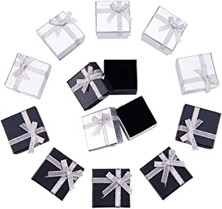 BENECREAT 12 Pack Ring Gift Box with Foam and Velvet Insert Small Hard Gift Box for Ring Earring Jewelry, Silver & Black - 2 x 2 x 1.2 Inches