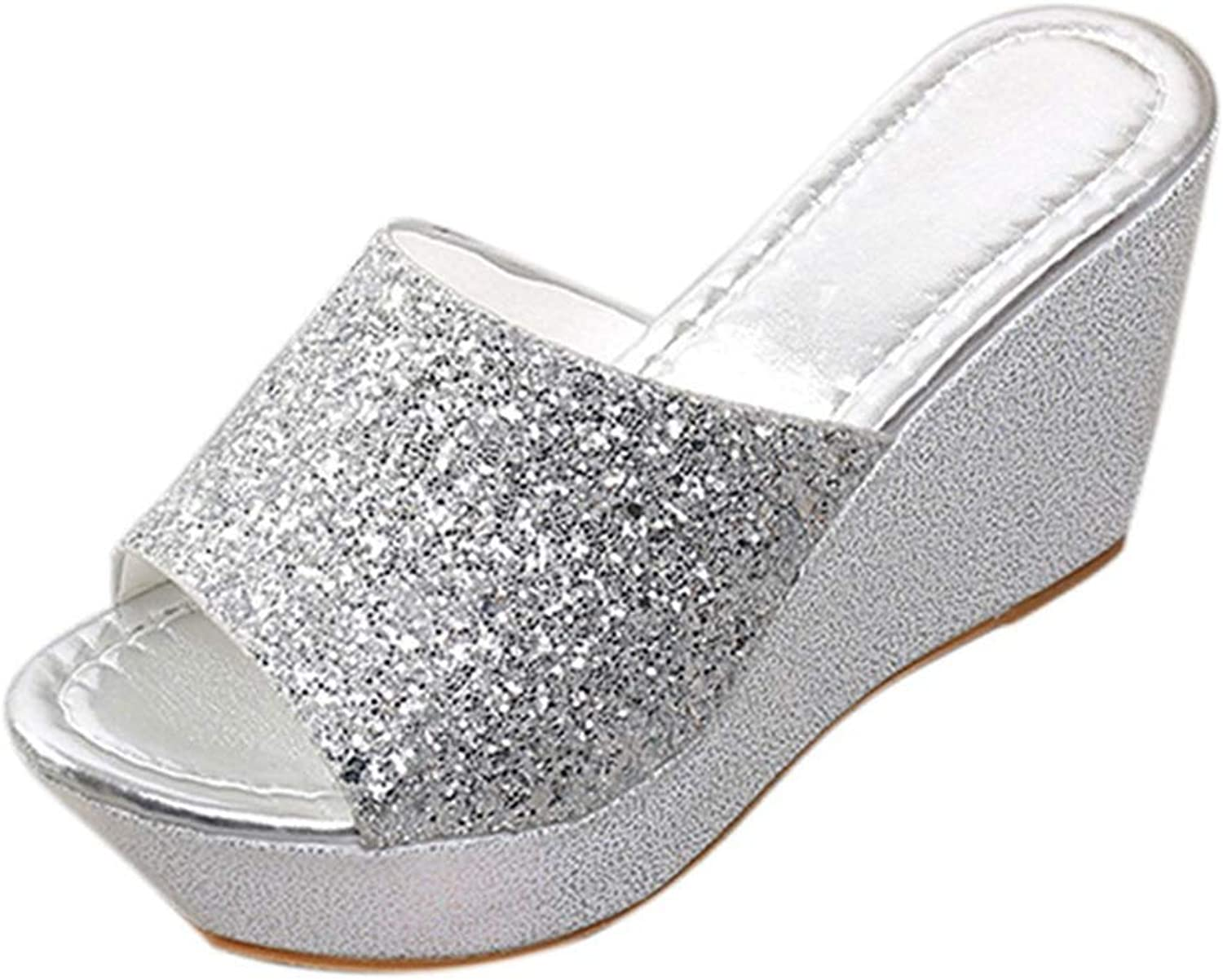 T-JULY Fashion Women Round Toe Slides Wedge Sandals Sexy Bling Wedges High Heel Slippers