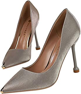 KTYXDE High Heels Wedding Party Shoes Fashion Banquet Women's Shoes Satin Light Metal Pointed Sexy 10 cm Women's Shoes (Color : Gray, Size : 40)