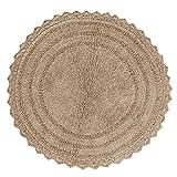 Runder gehäkelter weicher Baumwollteppich - Badematte, Dusche, Badewanne, Waschbecken, Toilette - (61 cm, beige)