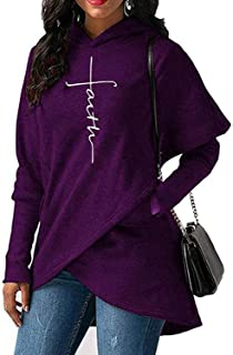 Surprise S Hoodies Sweatshirts Women Long Sleeve Faith Embroidery Warm Hooded Pullover Tops