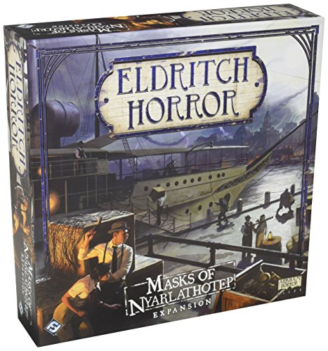 Eldritch Horror Masks of Nyarlathotep Board Game EXPANSION | Mystery Game | Cooperative Board Game for Adults and Family | Ages 14+ | 1-8 Players | Avg. Playtime 3 Hours | Made by Fantasy Flight Games