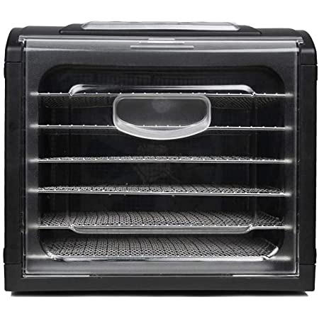 Déshydrateur alimentaire horizontal, 6 étagères en acier sans BPA lavables au lave-vaisselle. Déshydrateur pour fruits, légumes, viandes, poissons, gelées, herbes aromatiques. Température 35°-70°C