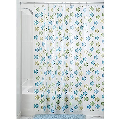 Price comparison product image iDesign Fishy PVC PEVA Shower Curtain,  183 x 183 cm - Blue / Green