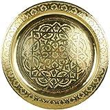 Horus Bandeja redonda dorada de latón marroquí hecha martillada totalmente a...