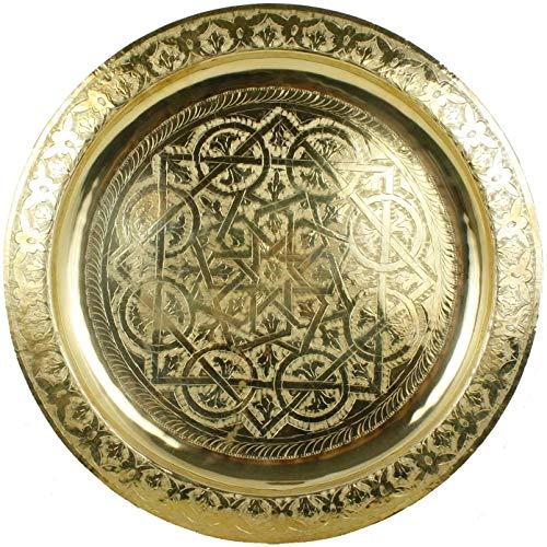 Horus Bandeja redonda dorada de latón marroquí hecha martillada totalmente a mano en Marrakech. Diámetro 50 cm