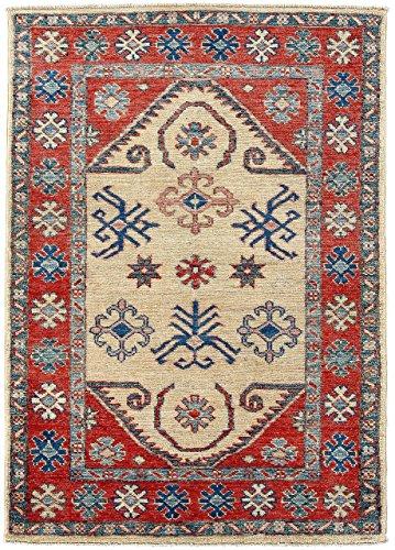 CarpetFine: Kazak Teppich 74x116 Blau,Rot - Handgeknüpft - Ornament