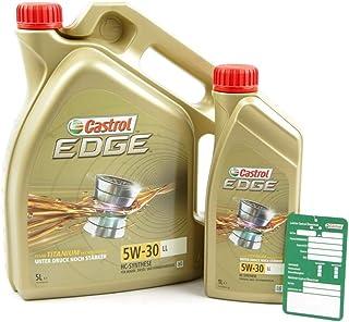 1 L + 5 L = 6 Liter Castrol Edge Fluid Titanium 5W 30 LL Motoröl inkl. Castrol Ölwechselanhänger