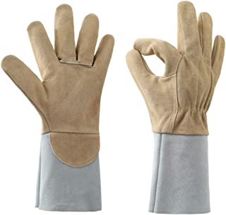 STEKETO Rose Pruning Gloves Thorn Proof Cow Split Leather Long Forearm Protection Gauntlet Gloves for Garden/Patio/Farm