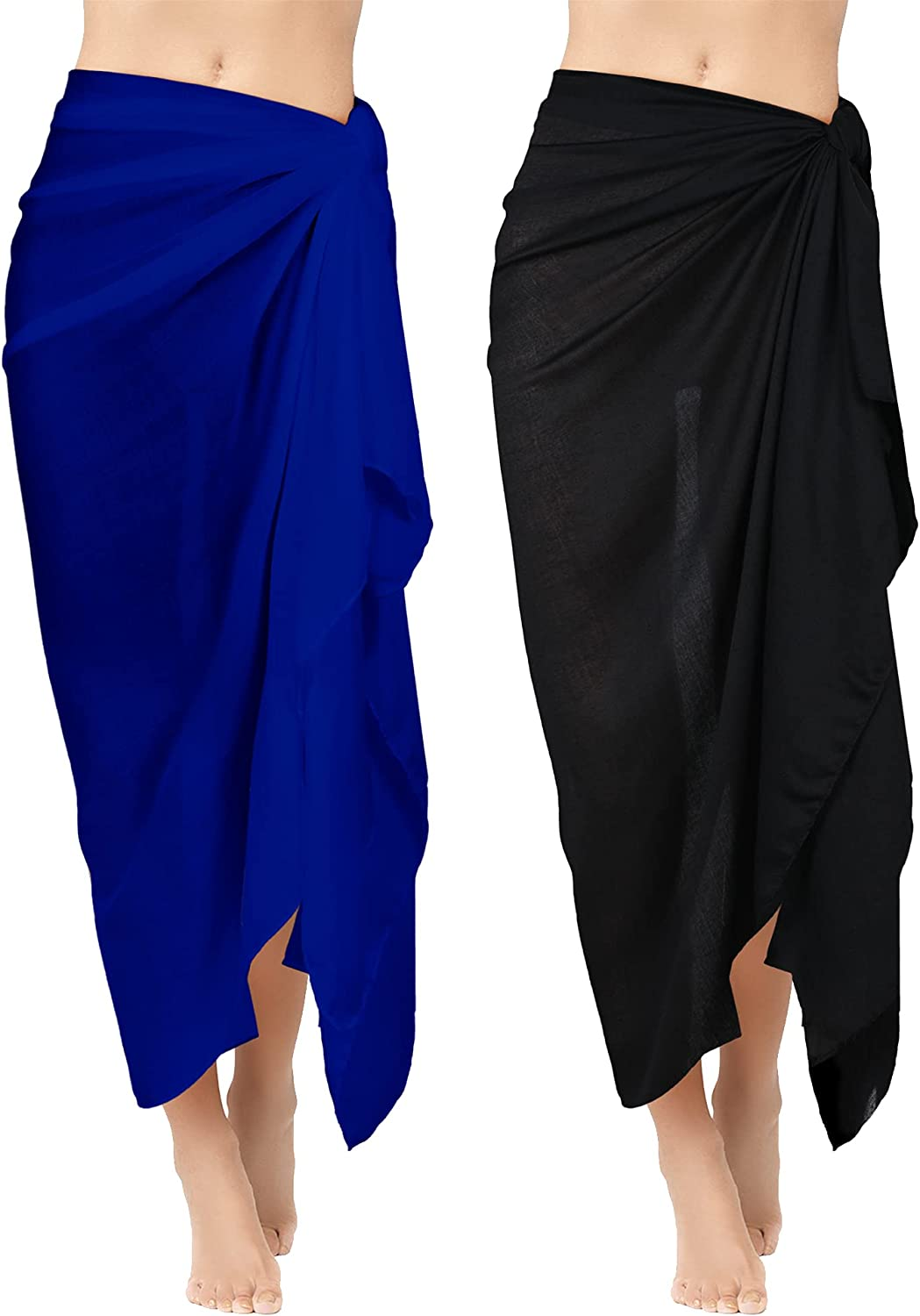 Geyoga 2 Pieces Beach Towels Long Sarong Swimsuit Wrap Shawl Rayon Cover Long Skirt for Ladies