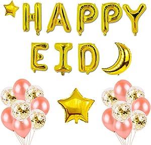 TOYMYTOY Happy Eid Mubarak Latex Balloons Gold Glitter Ramadan Balloons Banner EID Party Decorations