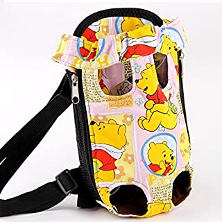 LCYSM Dog Harness with A Bag Strap Backpack Kitty Cat Out Portable Shoulder Bag Back Pet Dog Winnie The Pooh M- Within 8 Pounds for Dogs