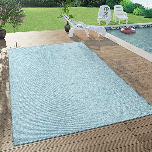 Paco Home In- & Outdoor-Teppich Für Wohnzimmer, Balkon, Terrasse, Flachgewebe In Blau, Grösse:140x200 cm