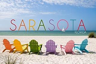 Sarasota, Florida - Colorful Beach Chairs (12x18 Fine Art Print, Home Wall Decor Artwork Poster)