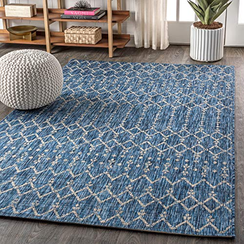 JONATHAN Y Ourika Moroccan Geometric Textured Weave Indoor/Outdoor Navy/ Gray 3 ft. x 5 ft. Area Rug, Bohemian,EasyCleaning,HighTraffic,LivingRoom,Backyard, Non Shedding
