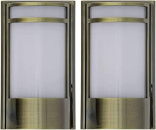 Capstone Dusk to Dawn LED Plugin Night Light–Automatic Dusk to Dawn Sensor Feature, Decorative Sconce Lights Up Your Home, No Batteries Needed–Covers Unused Outlets, Montego, Antique Brass (Pack of 2)