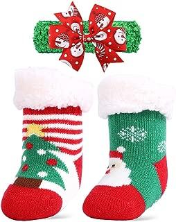 2 Pairs Sherpa-lined Newborn Infant Baby Girls Boys Christmas Socks Thicken anti Slip Toddler Slipper Socks with Gripper