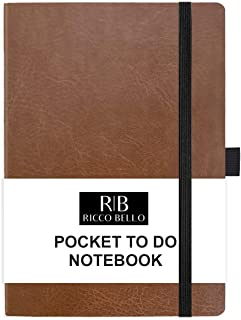 RICCO BELLO Hardcover Banded Pocket to Do List Notebook, Pen Loop, Bookmark, 4.25 x 6 inches (Brown)