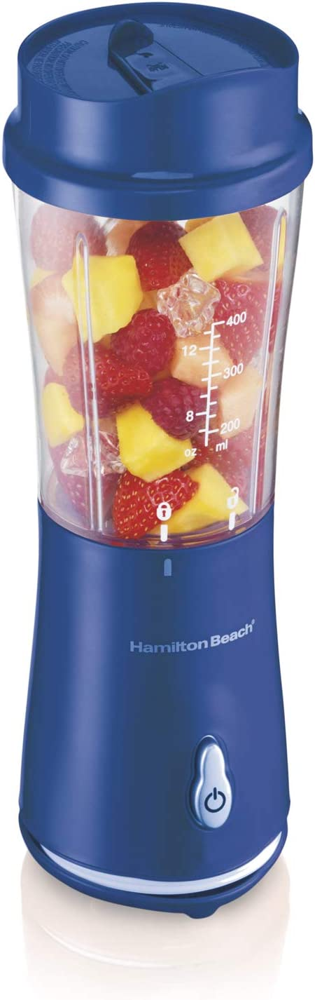 Hamilton Beach Personal Smoothie Blender With 14 Oz Travel Cup And Lid, Blue