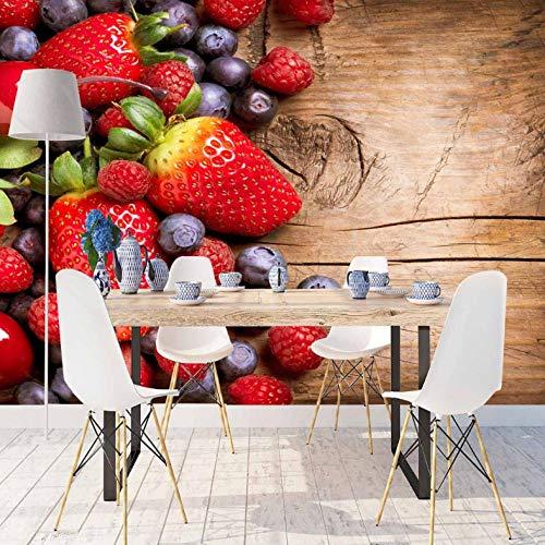 Pbbzl bruin hout rood aardbeien zwart vruchten 3D-print fotobehang afwasbaar stof muur huis decor keuken achtergrond behang 120 x 100 cm.