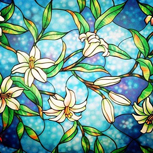 Lifetree Fensterfolie Glasmalerei Dekofolie Privatsphäre Sichtschutzfolie Statisch haftenden Orchidee (43 x 200 cm)
