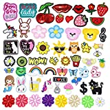 GOTONE Hierro en parches Parche bordado cosido, 60PCS Flowers Rabbit Rainbow Stars Strawberry Cute Patches Set Tamaño variado Decoración Coser parches