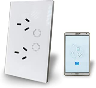 WiFi Smart Plug Switch Au Approved Google, Alexa, IFTT controllable Glass Panel Power Point.
