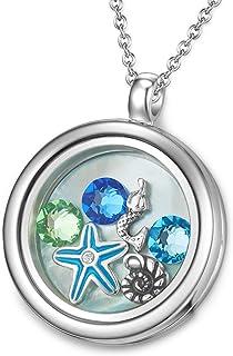 MESTIGE Women Crystal Ocean Eyes Floating Charm Necklace with Swarovski Crystals