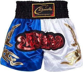 Muay Thai Fight Shorts MMA Kick Boxing Grappling Martial Arts Combat Shorts Gimnasio Entrenamiento Entrenamiento Azul Sati...