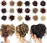 Tousled Updo Messy Bun Hair Piece Scrunchies Synthetic Wavy Extension Ponytail with Elastic Rubber Band Hairpiece Updo Extensions Ponytail Chignon Instant Ponytail for Women (Natural Black)-2#