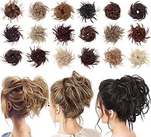 Tousled Updo Messy Bun Hair Piece Scrunchies Synthetic Wavy Extension Ponytail with Elastic Rubber Band Hairpiece Updo Extensions Scrunchies Wavy Hair and Ponytail Chignon Instant Ponytail for Women-99J#
