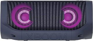 LG Electronics XBOOM Go PN5, tragbarer Bluetooth-Lautsprecher mit Meridian Technologie (IPX5-Spritzwasserschutz, 18 Std. Akkulaufzeit, Beleuchtung), schwarz [Modelljahr 2021]