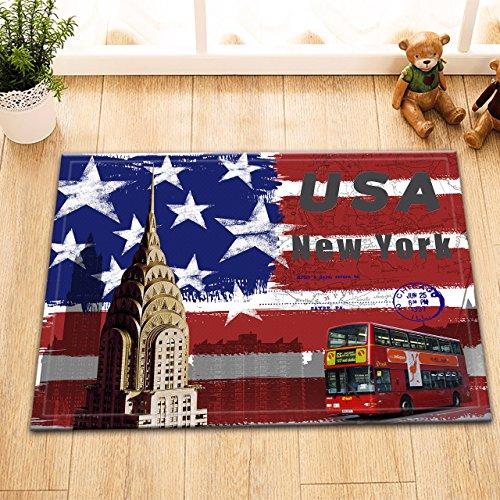 Photo de New York américain Vintage,Bus à Deux étages,Rouge,Blanc,Bleu/Décor Tapis de Bain antidérapant Lavable Doux Tapis de Douche,40X60 CM