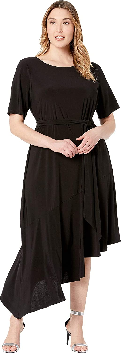 Adrianna Papell Womens Plus Size Jersey Asymmetrical Ruffle Dress