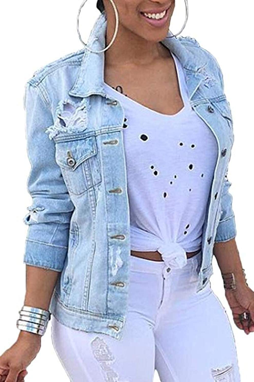 Women Milwaukee 1 year warranty Mall Denim Jackets Distressed Button Classic Down J Sleeve Long