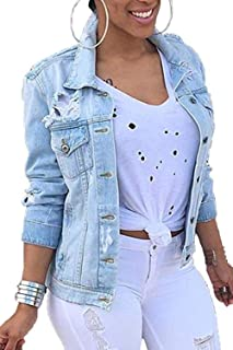 Vosujotis Women Denim Jackets Distressed Button Down Long Sleeve Classic Jean Jacket Coats